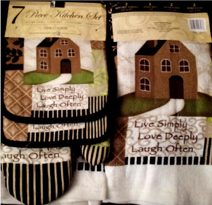 * 7-pc  Kitchen Towel-Mitt-Potholder -Country Home