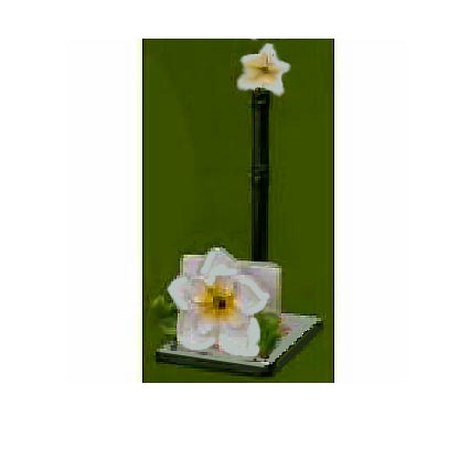 A Ceramic Magnolia Paper Towel/ Napkin Holder Set