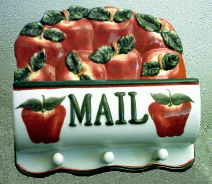 Apple Ceramic Mail and Key Holder