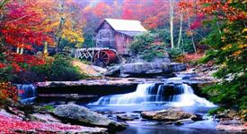 .Moving Picture Autumn Mill with Waterfall -ML