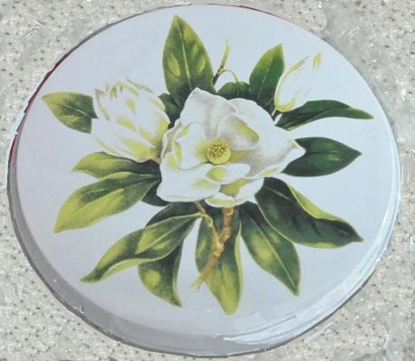 `Magnolia-on White Round  Metal Burner Covers