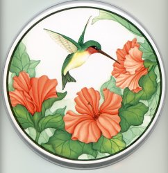 Burner Covers Round Metal - Floral Hummingbird