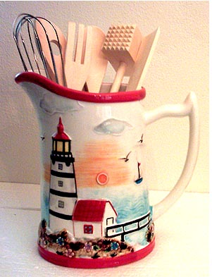 Coatal Nautical Lighthouse Ceramic Pitcher Utensil Holder