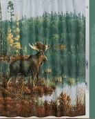 A Hautman Cabin/Lodge/Deer Moose Shower Curtain