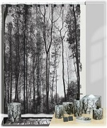 A Woodland Rustic Cabin Theme Scenic Fabric Shower Curtain-Sylva