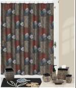 Borneo - Earthtone Cabin/Lodge Fabric Shower Curtain
