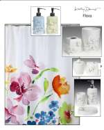 ` Flora - Water Color Poppies on Fabric Shower Curtain