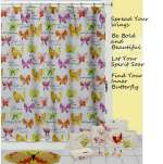 Flutterby - Inspirational Butterfly Fabric Shower Curtain