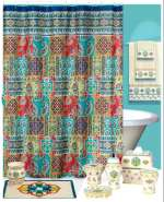 Sasha-Tuscan Art Silk-Look Fabric Shower Curtain