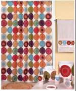 Swirl-Multi Cabin/Lodge Earthtone Fabric Shower Curtain