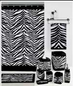 A Striking Black and White Zebra - Fabric Shower Curtain