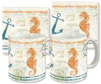 Nautical Brights Ceramic 4-pc Coffee Mug Set