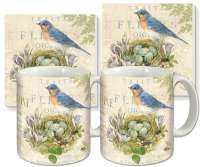 Natures Trail Bird Nest Ceramic 4-pc Coffee Mug Set
