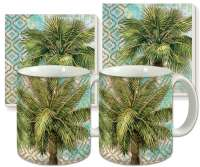 Aqua Escape Palm Trees Ceramic 4-pc Coffee Mug Set