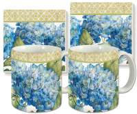 Botanical Blue Hydrangeas Floral Ceramic 4-pc Coffee Mug Set