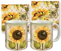 Sunflowers In Bloom Ceramic 4-pc Coffee Mug Set