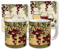Ceramic Grape 4-pc Coffee Mug Set Wine Not