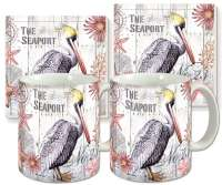Pelican Water Bird Ceramic 4-pc Coffee Mug Set