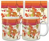 Autumn Leaves Fruitful Harvest Ceramic 4-pc Coffee Mug Set