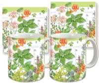 Cullinary Herbs Floral Ceramic 4-pc Coffee Mug Set