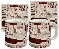 Divine Wine Ceramic 4-pc Coffee Mug Set