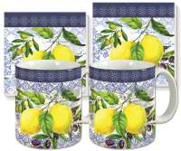 Lemons and Olives Fruit Ceramic 4-pc Coffee Mug Set