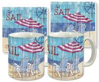 Seas The Day Beach Coastal Ceramic 4-pc Coffee Mug Set