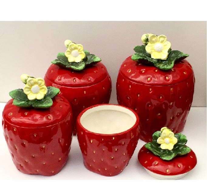 Strawberry Ceramic Kitchen Canisters