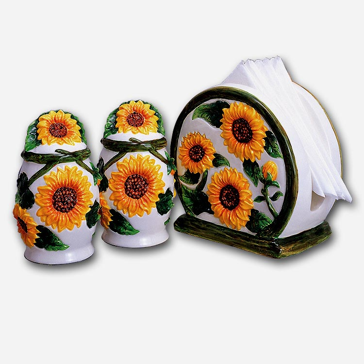 Sunflower Ceramic Napkin Holder/Salt & Pepper Set