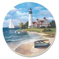 * A Beach/Coastal Nautical Lighthouse Mural Coaster Set of 8