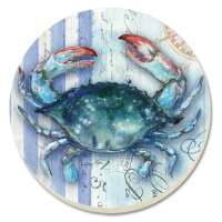 A Beach/Coastal/Blue Crab Sea Stripes 8 Coasters
