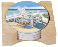 Coastal Nautical Beach Chair 4 Stone Coasters & Wood Holder