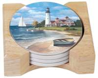 4 Lighthouse Mural Nautical Coastal/Beach Coasters Holder