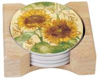 Reflections of Sunflowers 4 Stone Coasters & Wood Holder