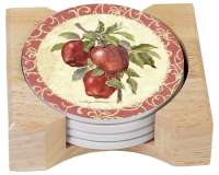 Apple Orchard 4 Stone Coasters & Wood Holder
