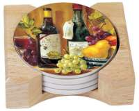 Fruit and Wine Grape Themed Coasters & Wood Holder