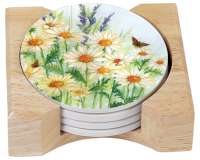 `Butterflies & Chickadees 4 Stone Coasters & Wood Holder