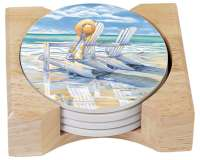 4 Beach Days Coastal Stone Coasters w/Holder
