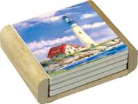 4 Coastal Nautical Lighthouse Stone Coastersw/holder