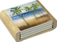 Ocean Palm Trees Tropical 4 Stone Coasters & Wood Holder