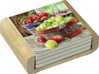 Apple Basket Fruit Themed 4 Stone Coasters & Wood Holder