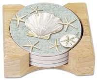 4 Beach Stone Coasters Linen Shells in Holder