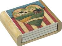 Americana Country Heartland 4 Stone Coasters & Wood Holder