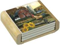Barn Farm Scene Rooster Sunflower-4 Stone Coasters & Wood Holder