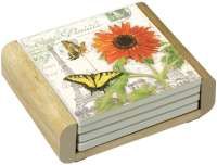 Sunflower Postcard 4 Stone Coasters & Wood Holder