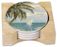 4 Palm Tree Stone Coasters in Wood Holder Palm Bay