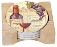 * 4 Cork Back Stone Coasters w/Holder Wine Tradition