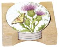 Herb Garden Floral 4 Stone Coasters & Wood Holder