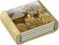 Morning Deer Lodge Cabin Wildlife 4 Stone Coasters & Holder