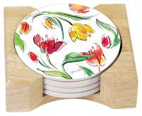 Floral Tulips 4 Stone Coasters & Wood Holder